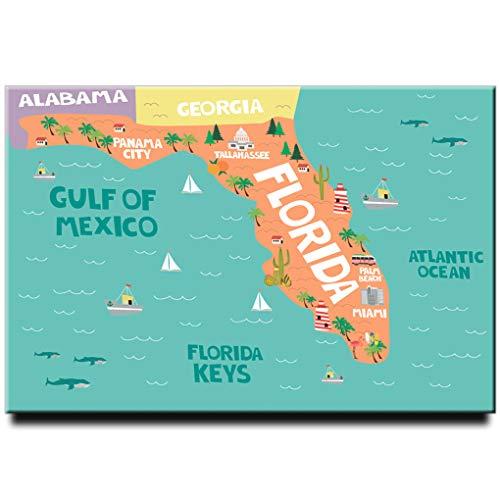 Florida Karte Kühlschrank Magnet Miami Poster Jacksonville Travel Souvenir Tampa