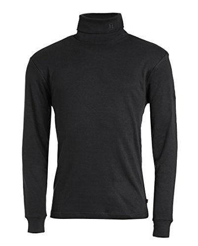 Medico Herren Ski Shirt, 48, schwarz, 100% Baumwolle, langarm, Rollkragen