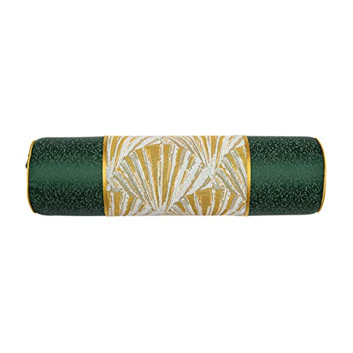 QXbecky Fundas de Cojines Sofá Verde Dorado patrón de Agua Color Funda de Almohada Cintura Funda de Almohada (sin núcleo) Dormitorio de Estilo Chino sofá Decorativo apoyabrazos Almohada Redonda