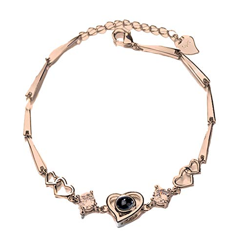 Bracelet Gifts,Fashion Heart Charm 100 Languages I Love You Projection Chain Bracelet Jewelry - Golden
