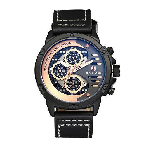 lancardo Reloj de Hombre Cuarzo con Piel de Pulsera Calendario Reloj de Pulsera, duras Azul Cristal Resistente al Agua Punk Rock Hombres Reloj Negro Azul