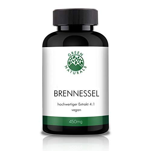 GREEN NATURALS Premium Brennessel Extrakt 4:1-120 hochdosierte Kapseln á 450mg aus deutscher Herstellung – 100% Vegan & Ohne Zusätze