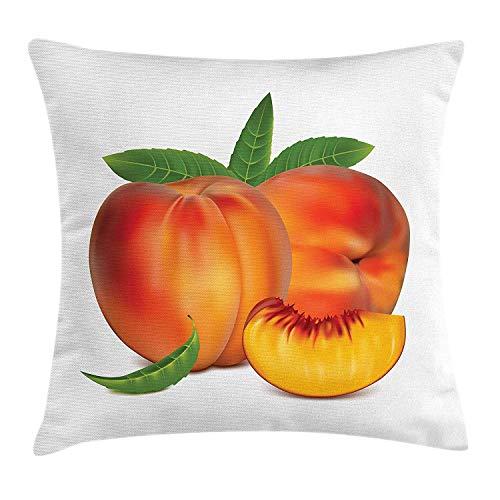 FGHJKL Peach Throw Pillow Cushion Cover, Vivid Juicy Fruit...