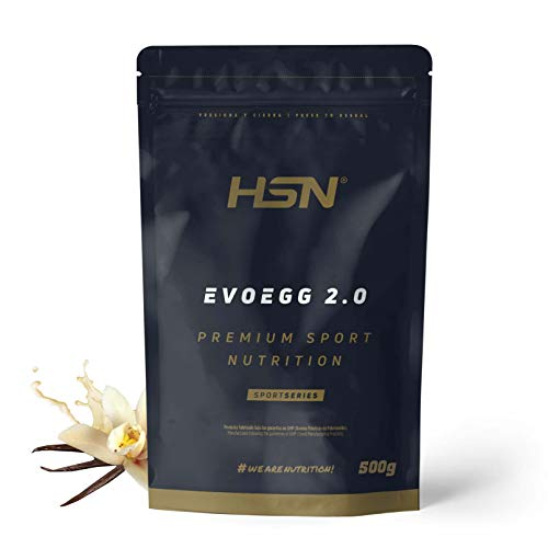 Proteína de Huevo de HSN Evoegg 2.0 | 100% Albúmina de Huevo en Polvo | Egg Protein | Para personas intolerantes a la lactosa y ovo-lactovegetarianos | Sin Gluten, Sin Lactosa, Sabor Vainilla, 500gr