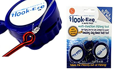HOOK-EZE New Larger Model Quick Fishing Knot Tool Hook Tying & Safety Device Tie Hooks Fast |Smart Hook Cover Travel Safely Fully Rigged. Multi Function Fishing Device.