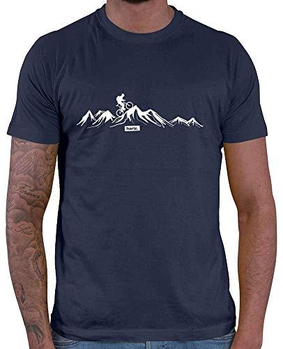 HARIZ Herren T-Shirt Mountainbike Fahrrad Berge Mountain Plus Geschenkkarten Navy Blau L