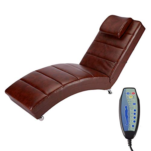 YOLENY Electric Massage Recliner Chair - Leather Chaise Lounge Indoor Chair, Modern Long Lounger for Office or Living Room,Coffee