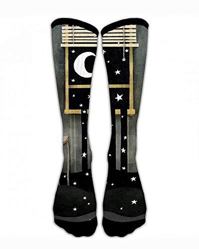 Jxrodekz Crew Socken Mond und Sterne aus dem Fenster Männer & Frauen Sport Sport Socken personalisierte lustige verrückte einzigartiges Geschenk Socken