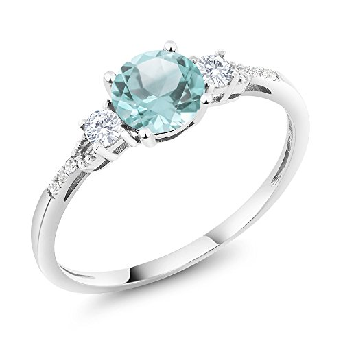Gem Stone King 10K White Gold Sky Blue Topaz White Created Sapphire and Diamond Accent 3-stone Women Engagement Ring (1.05 Cttw) (Size 8)