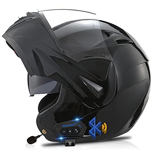 Casco De Moto Modular Bluetooth Integrado, con Doble Visera Cascos De Motocicleta, Casco Integral ECE Homologado, Transpirable Y Cómoda, para Mujeres Y Hombres