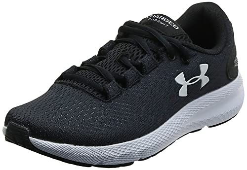 Under Armour Women's Charged Pursuit 2 Running Shoe, Black (001)/White, 8 M US