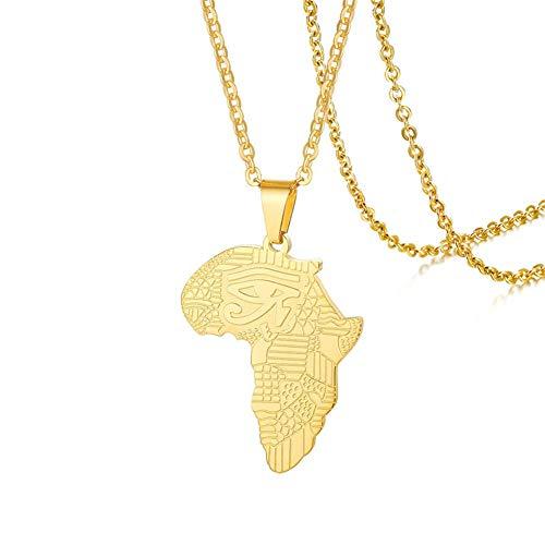 Joielavie Jewellery Kaart van Afrika Oog van Horus Verguld RVS Hanger Ketting voor Mannen