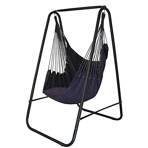 YUCAN Hammock Chair Stand with Hanging Swing Chair Included,Weather Resistant and Saving Space Stand Max 450 Lbs, Quality Cotton Weave Wrap Whole Body,Suitable for Indoor, Outdoor,Patio,Yard
