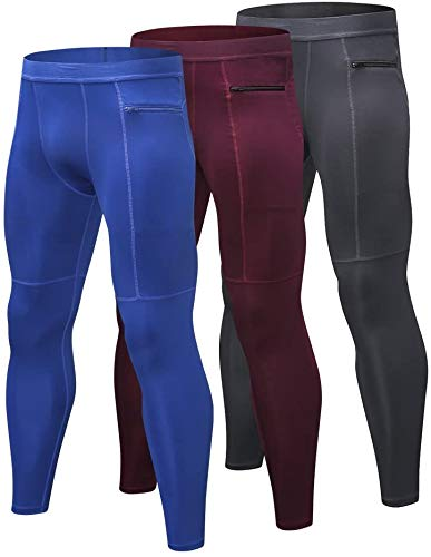 Yuerlian Mens Compression Leggings Cool Dry Sport Pants Running Gym Tights with Zip...