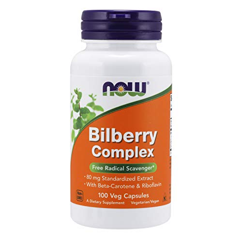 NOW Supplements, Bilberry (Vaccinium myrtillus)Complex 80 mg with Beta-Carotene & Riboflavin, 100 Veg Capsules