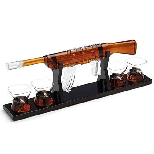 Rifle Gun Whiskey Decanter Gun Large Decanter Set With 4 Bullet Whiskey Glasses,Best gift for men