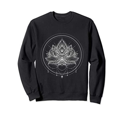 Flor de loto con mandala circular y colgante Sudadera