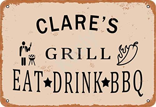Keely Clare'S Grill Eat Drink BBQ Metall Vintage Zinn Zeichen Wanddekoration 12x8 Zoll für Cafe Bars Restaurants Pubs Man Cave Dekorativ
