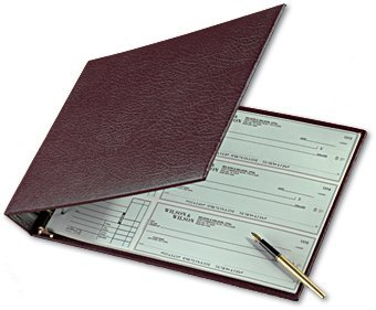 Burgundy 7-Ring 3 On A Page Business Check Book Binder, 600 Check Capacity with Clear Vinyl Pouch Bill Keeper � Desktop Checkbook Binder with Removable 6-Year Calendar in Burgundy by ABC Printing