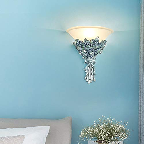TYXL Luz de pared Azul Gypsophila Flor Lámpara De Pared Luz Cálida Resina De Cristal Pasillo Pasillo Comedor Sala De Estar Dormitorio Dormitorio Junto A La Cama 31 * 35 Cm