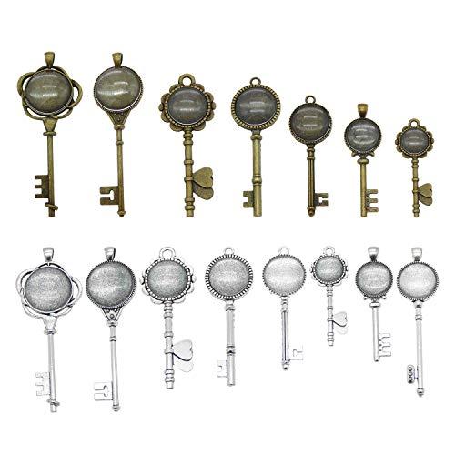 12 Sets sortierte Skelettschlüssel Bronze Silber Fassung Anhänger Tablett Blanks mit Glasdeckel Cabochons für Schmuckherstellung