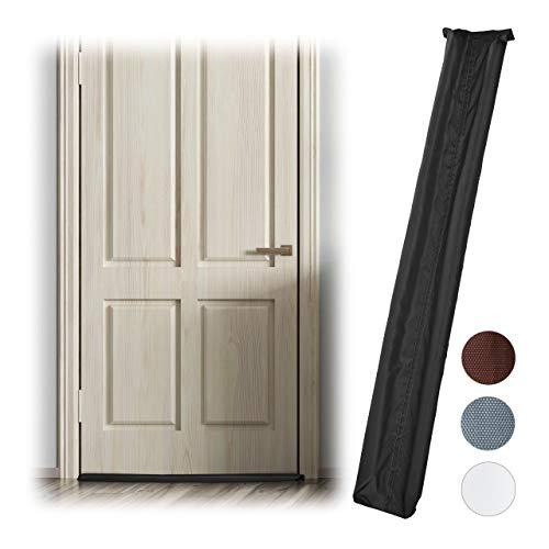 Relaxdays tochtstrip voor deur, aan beide zijden, deurrol tegen tocht en kou, stof, deurluchtstopper, 90 cm lang, zwart