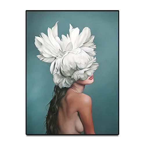 HETHYAN Figura de flores con diseño de plumas para mujer, diseño de cabeza de flor, para sala de estar, dormitorio (color: H, tamaño: 13 x 18 cm, sin marco)
