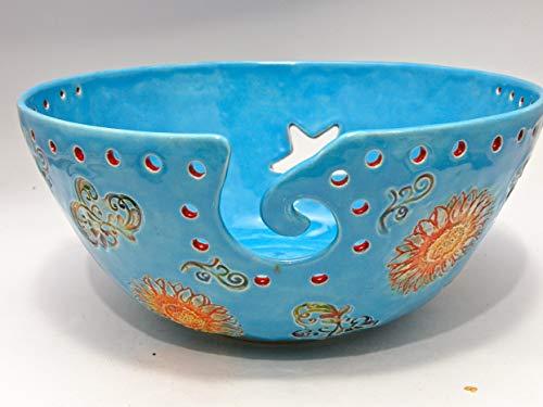 Glazed Ceramic Floral Design Extra Large Yarn Bowl