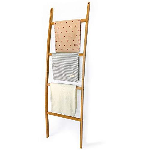 Escalera de toallas de madera con 4 peldaños, toallero de bambú, escalera decorativa para ropa