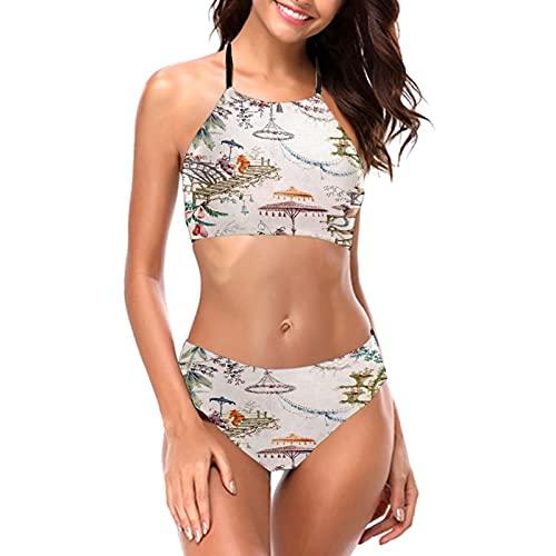 China Enchanted Forest Chinoiserie Chinesische Malerei Frauen Mädchen Bikini Sets Sexy Gepolstert Triangel Bikini Push Up Crop Top Zweiteiliger Badeanzug Beachwear Bottom BH Set Gr. M, Schwarz