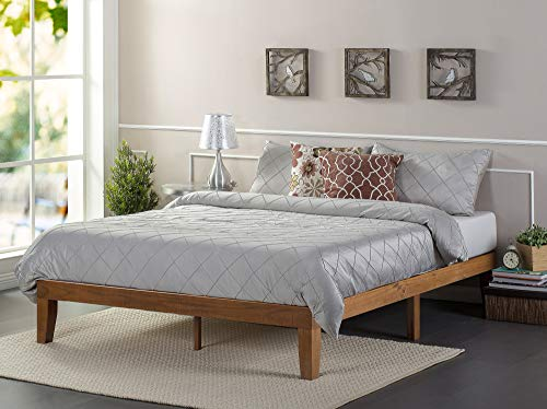 Zinus Alexia 12 Inch Wood Platform Bed / No Box Spring Needed / Wood Slat Support / Rustic Pine Finish, Queen