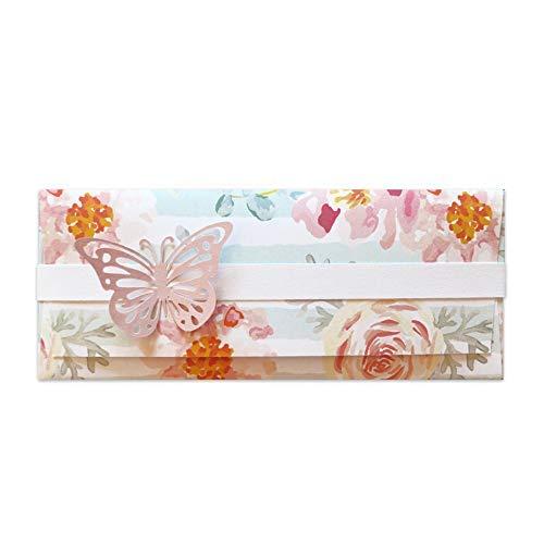 Porta soldi - delicato - cerimonie - matrimonio - busta portasoldi (formato 22 x 9,5 cm) + biglietto d'auguri vuoto all'interno - ideale per il tuo messaggio personale - realizzato interamente a mano.