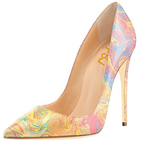 FSJ Women Fashion High Heel Stilettos Pointed Toe Pumps Evening Dress Print Shoes Size 9 Watercolor