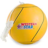 Western Star Tetherball W/Rope Backyard Outdoor for Kids Yellow Red Blue Green Pink Full Size Premium Line (Classic Yellow)