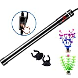 500W Digital Aquarium Heater, Submersible Fish Tank Heater with Readout for Saltwater or Freshwater 60-100-150 Gallon, Thermostat Titanium Safe External Controller, Gift of 2 Artificial Plants