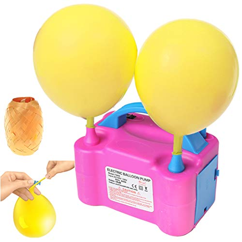 Dual Nozzles Balloon Pump Electric Fast Air Inflator Tank Blower with Balloon Ties and Ribbon for Massive Balloon Decoration