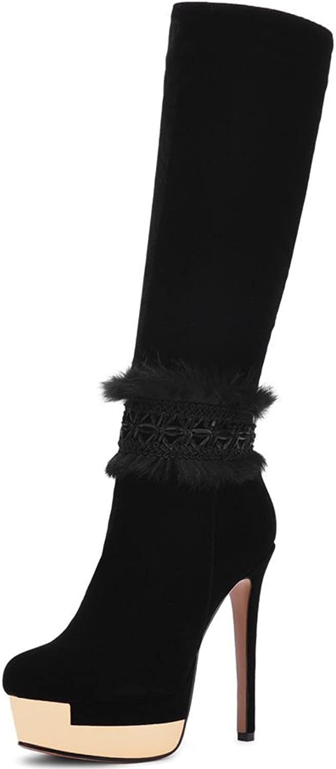KingRover Women's Rounded Toe Side Zipper Stiletto Super High Heel Ornamented Platform Suede Knee High Boots