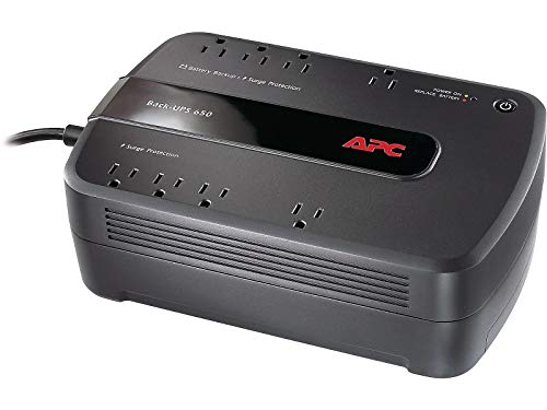 APC BE650G1 BE650G1 Back-UPS ES 650 Battery Backup System, 8 Outlets, 650VA, 365 J