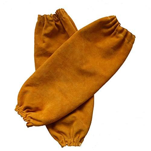 Mangas de soldadura de cuero para hombres y mujeres, protección de brazo resistente al calor y al fuego con puño elástico, protector de brazo largo de 48 cm para soldadores (naranja)
