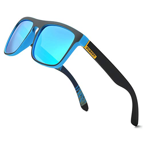 DUBERY Classic Polarized Sunglasses for Men Women Retro 100%UV Protection Driving Sun Glasses D731,Black/Blue