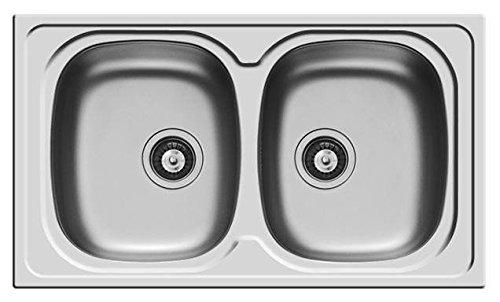 Lavello PYRAMIS lavandino lavabo 2 vasche Sparta 86x50 acciaio INOX con PILETTA da 3,5''