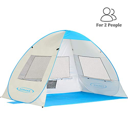 ZOMAKE Pop Up Beach Tent 2-3 Person, Lightweight Portable Sun Shelters Sun Shade Instant Tent Outdoor Cabana with UPF 50+ UV Protection for Baby, Family(Silver)