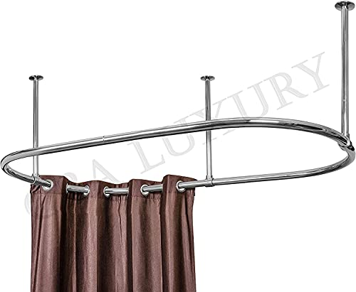 Stainless Steel Oval Shower Curtain Rod By CBA with Ceiling Support Oval Shower Curtain Rod For Clawfoot Tub Freestanding Oval Shower Curtain Rod Chrome Finish Size 60 X 30 Inch
