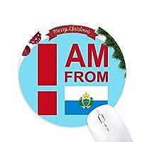 私はサンマリノ出身です クリスマスツリーの滑り止めゴム形のマウスパッド