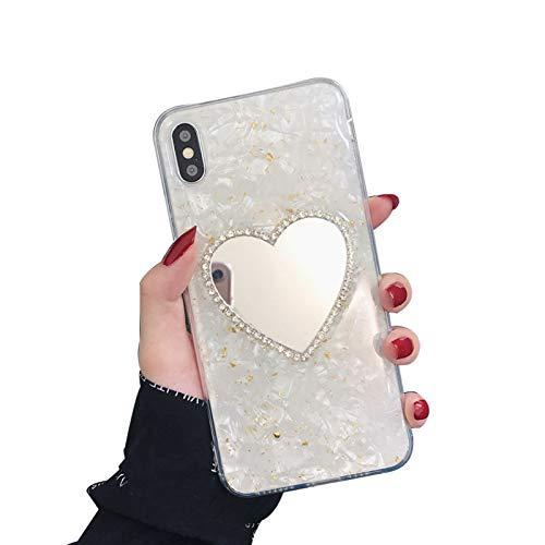 QPOLLY Kompatibel mit iPhone XS Max Hülle Silikon Marmor Glitzer Bling Kristall Schutzhüll [Glänzend Diamant Spiegel] Mirror Case Handyhülle für Frauen Mädchen Ultradünn Soft Zurück Hülle,Gold