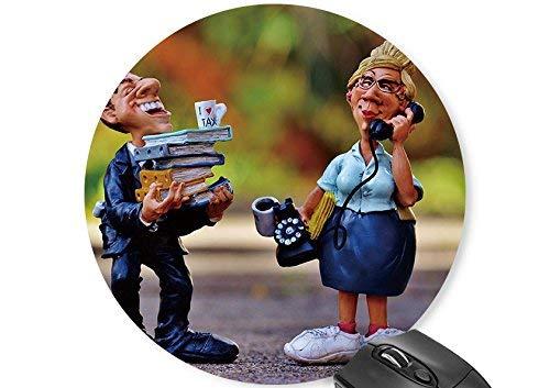 Runde Maus Matte lustige Puppe altes Paar drucken Mauspad