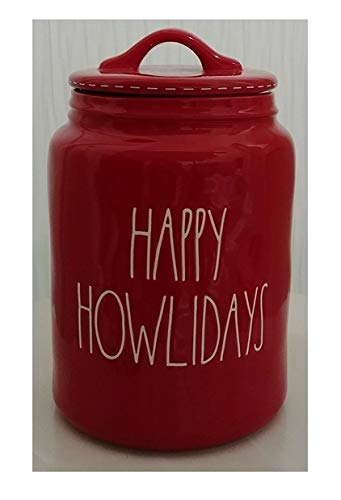 Rae Dunn Artisan Collection by Magenta Happy Howlidays Red Christmas Canister - Pet Dog with White Stitching