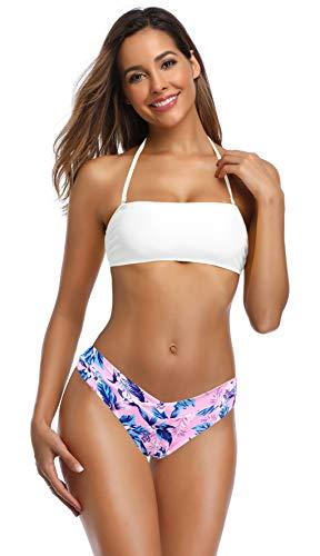 SHEKINI Women's Bandeau Bikini Floral Print Bottom Lace Up Two Piece Swimsuits (Venice White, Small)