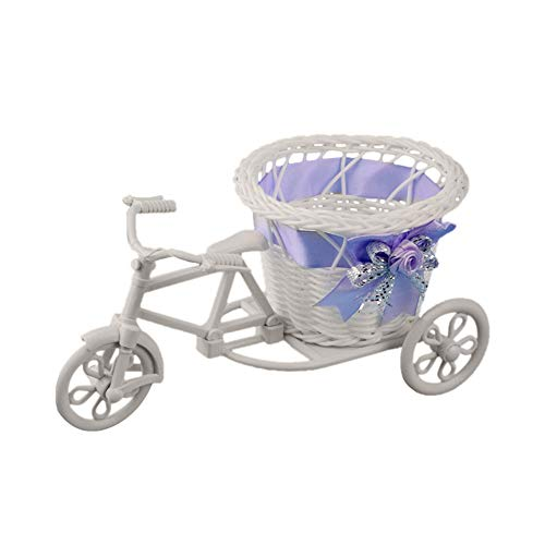 Ratán bicicletas cesta de la flor de la decoración pastoral romántico del estilo de simulación del ramo de maceta rota bicicletas escritorio decoración del hogar para la boda Salón de fiestas (Purple)