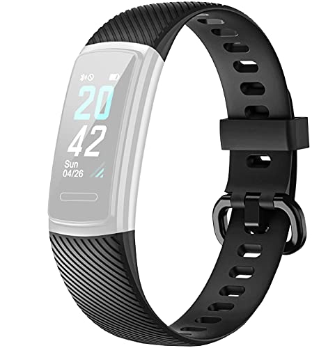 Delvfire ID152HR / ID152 Replacement Strap compatible with LETSCOM, Letsfit - Model Number ID152, ID152HR, Arcturus Fitness Tracker Band (Black)